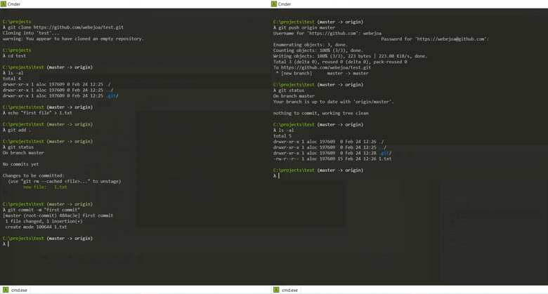 Cmder에서 Git 명령어 사용